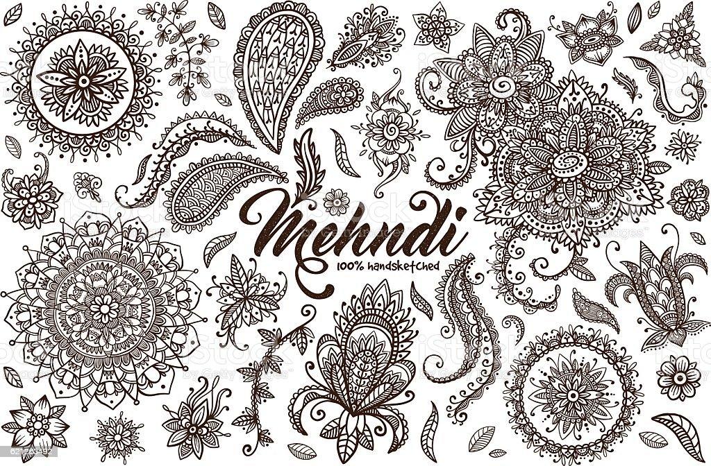 Hand Drawn Set Of Mehndi Design Templates Stock Vector Art & More ...