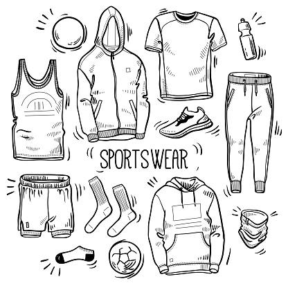 Mano dibujada conjunto de bocetos de ropa deportiva de hombres: sudadera con capucha, sudadera, jogging, shorts, camisetas, tapa del tanque, calcetines, botella de agua y entrenador