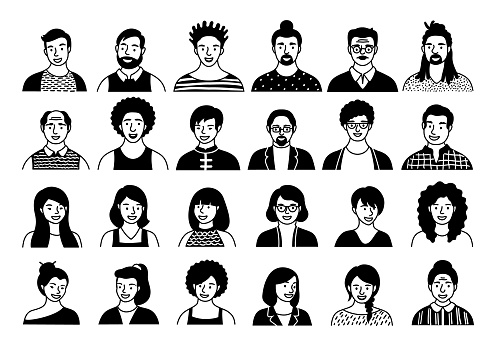 Hand drawn doodle set of persons, avatars, people heads of different ethnicity and age in flat style. Multi nationality people faces social network line icons vector collection.
