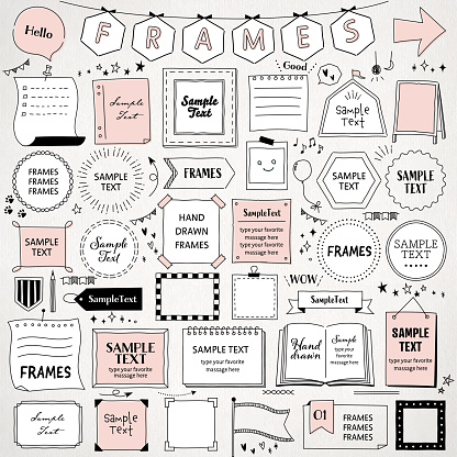 Hand drawn set of simple frames  / mono line design templates / circle, square, rectangle, and more /  isolated on white background.