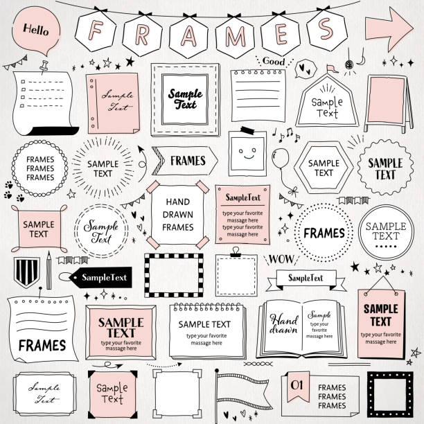 ręcznie rysowany zestaw prostych ramek / szablonów projektu monolinii / okrąg, kwadrat, prostokąt i więcej / izolowane na białym tle. - bazgroły rysunek stock illustrations