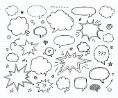 Hand drawn set of speech bubbles and arrows
