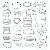 Hand drawn set of speech bubbles. Tetrad cell. Notebook in a cage. Vector illustration