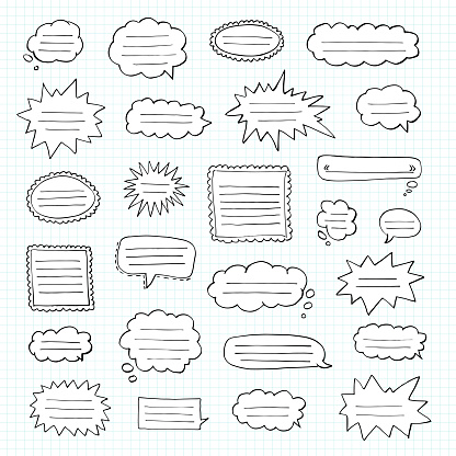 Hand Drawn Set Of Speech Bubbles Tetrad Cell Notebook In A