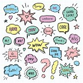 Hand drawn set of speech bubbles with dialog words: Hi, Love, Sorry, Welcome, Bye. Vector illustration for stickers