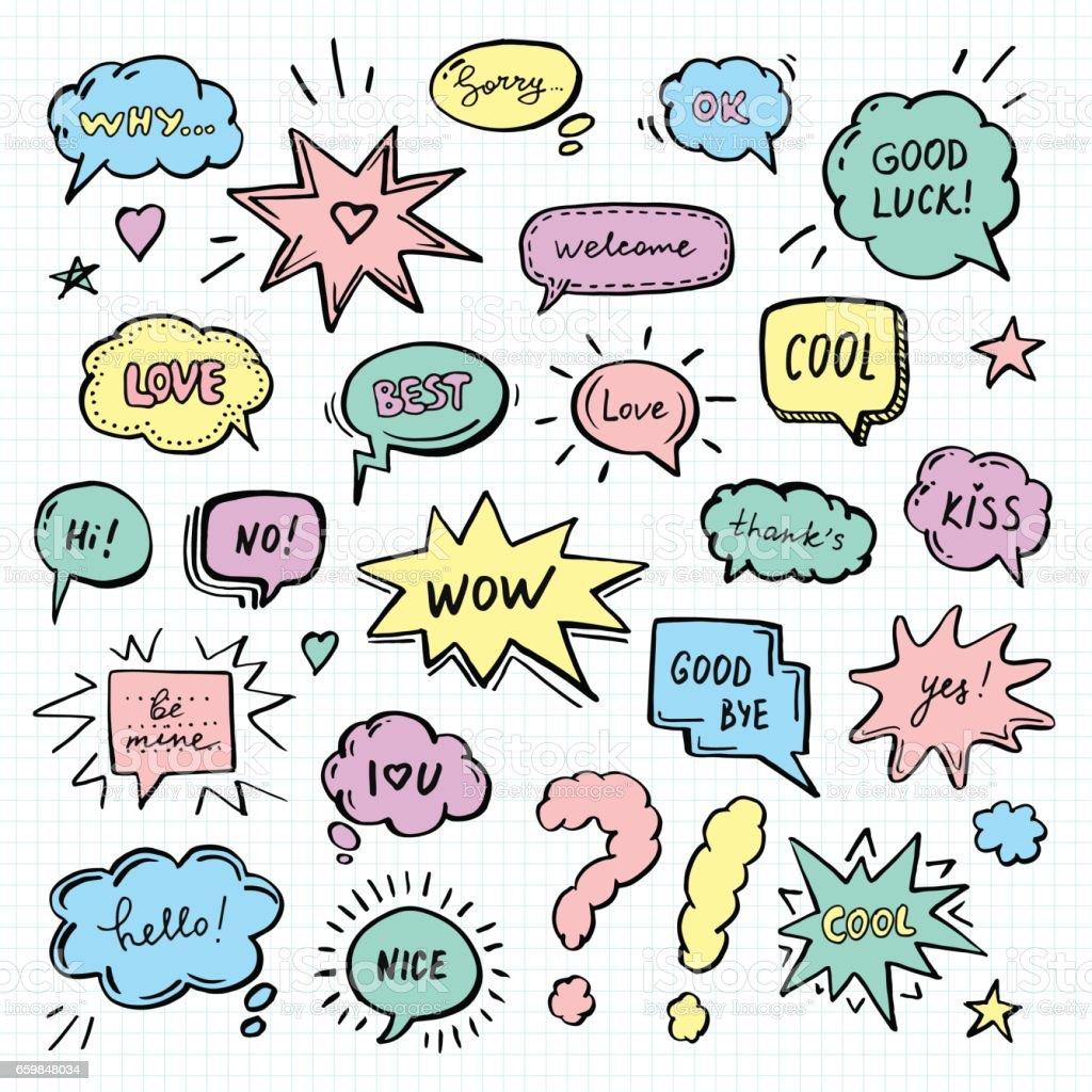 Mão desenhada conjunto de bolhas do discurso - ilustração de arte em vetor