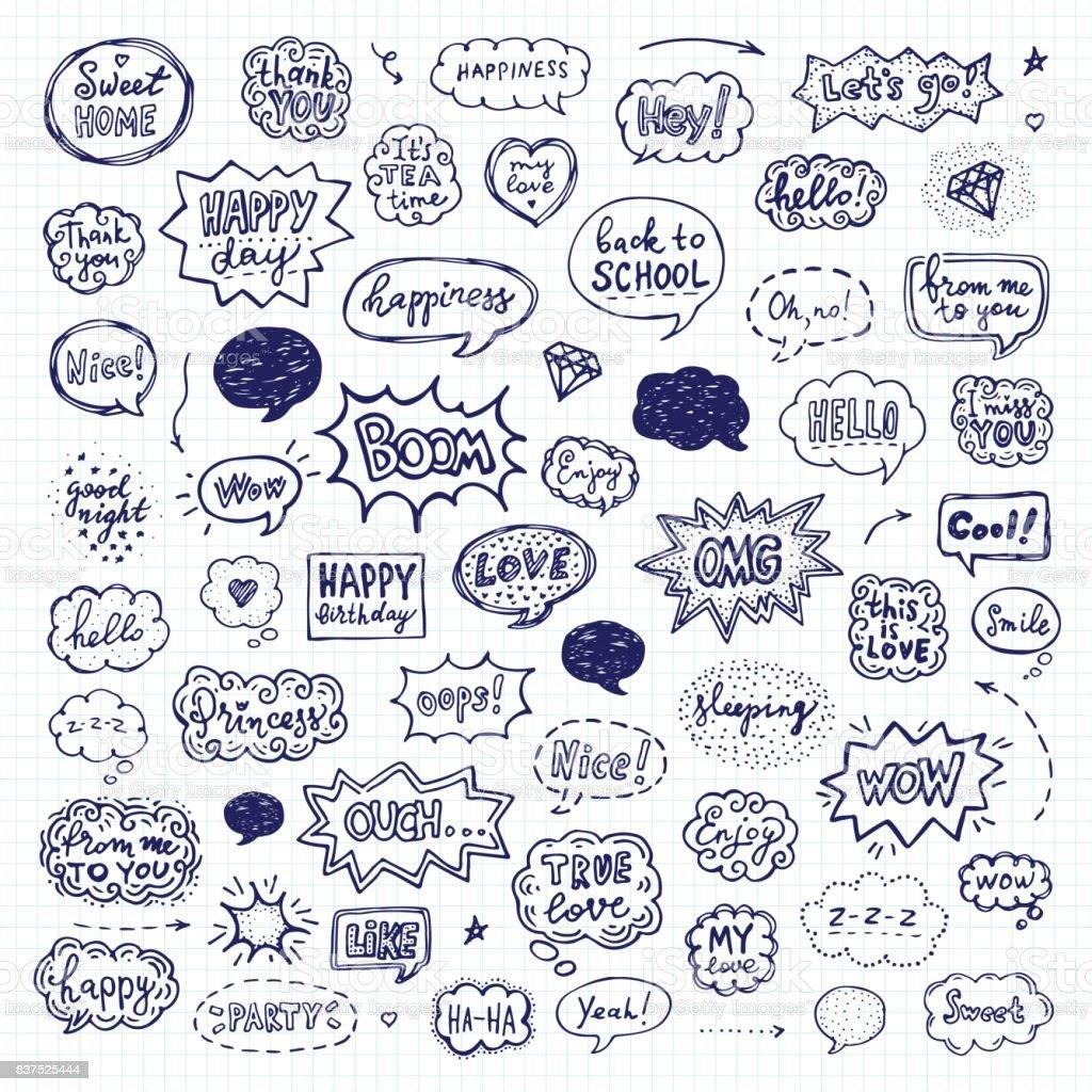 Handgezeichneten Satz von Sprechblasen – Vektorgrafik