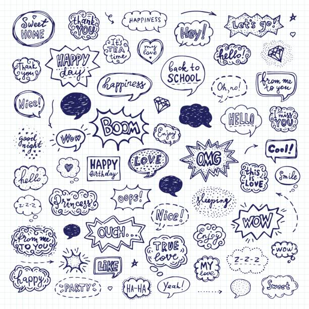 Hand drawn set of speech bubbles Hand drawn set of speech bubbles. Vector illustration over squared notebook sheet short phrase stock illustrations
