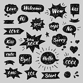 Hand drawn set of speech bubbles with dialog words: Hello, Hi, Sorry, Welcome, Bye, No, Yes