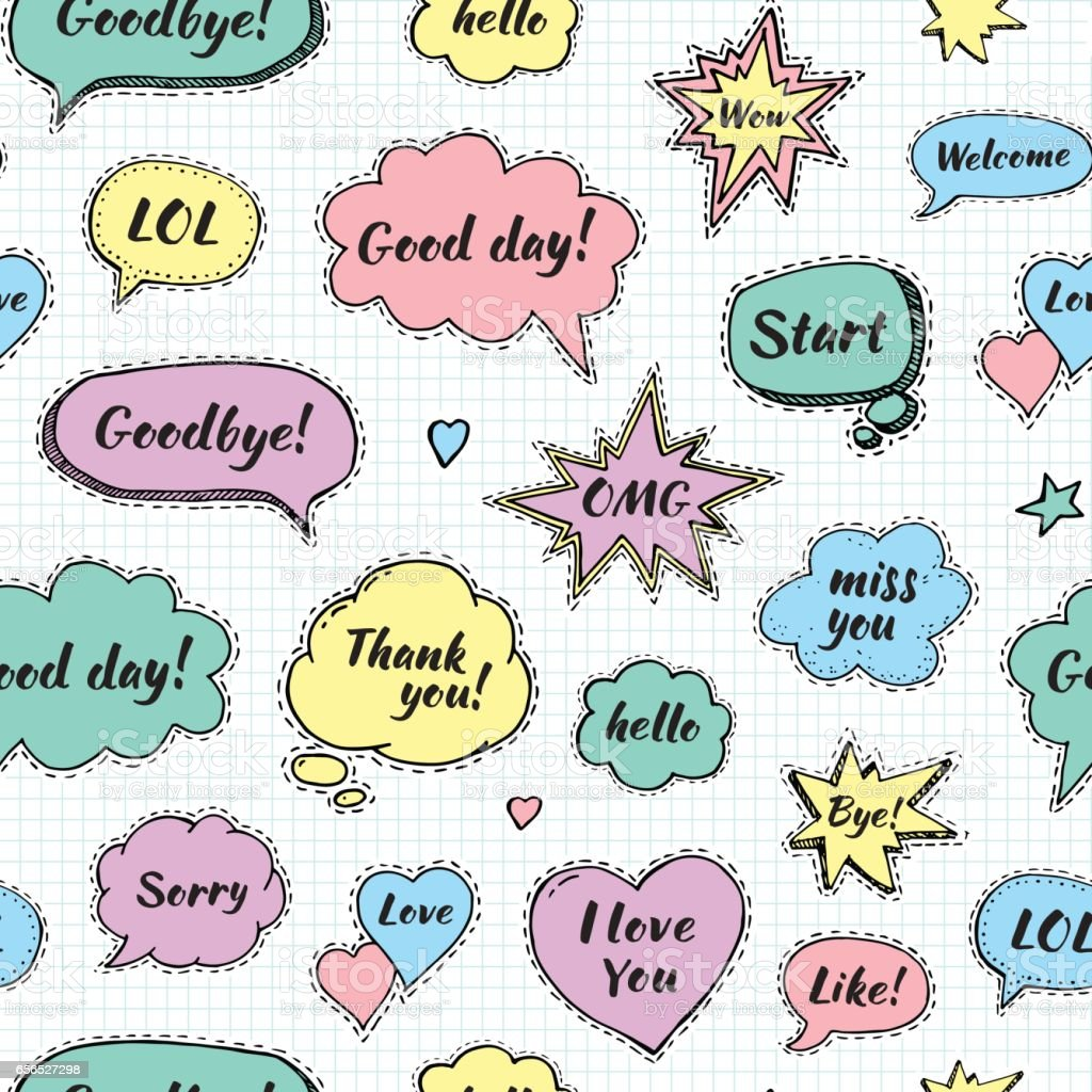 Hand Drawn Set Of Speech Bubbles With Dialog Words Stock