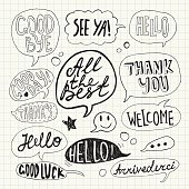 Hand drawn set of speech bubbles with handwritten short phrases