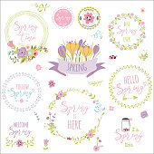 Spring typographic quotes set Design elements with spring quotes, flowers, wreathes, frames, ribon. For prints greeting cards scrapbook logos Hand drawn set of spring wreaths Vector illustration