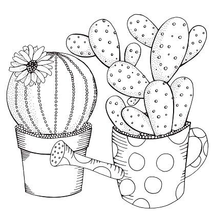 getekend set vetplanten en cactus in potten doodles