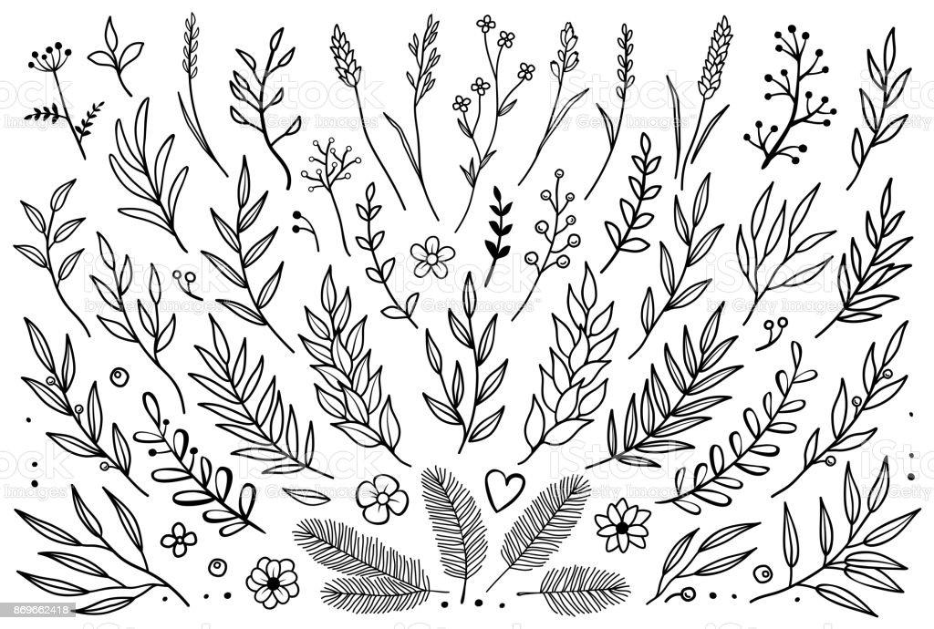 die Hand gezeichnete Satz von Ästen – Vektorgrafik