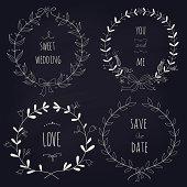 Hand drawn set of wedding wreaths on blackboard. EPS 10.No gradients. Transparency.