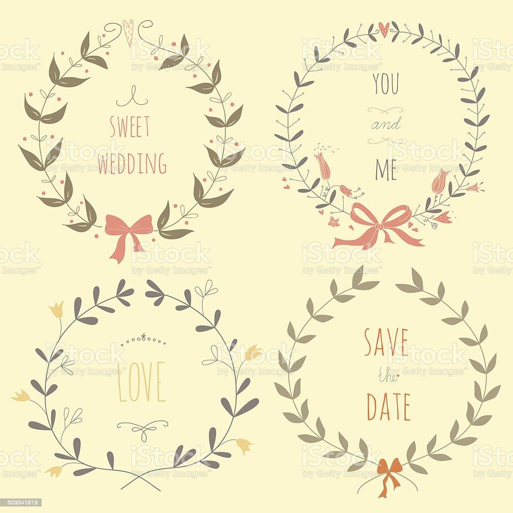 Hand drawn set of wedding wreaths royalty-free stock vector art