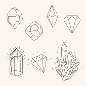 Hand drawn set sketch crystal,diamond and polygonal figure tatto