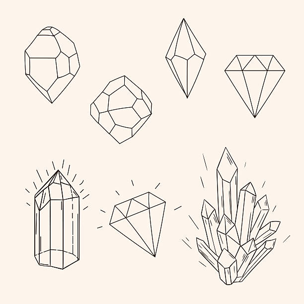 illustrations, cliparts, dessins animés et icônes de ensemble de croquis dessiné à la main de cristaux de diamant et polygonal chiffre tatto - tatouages diamants