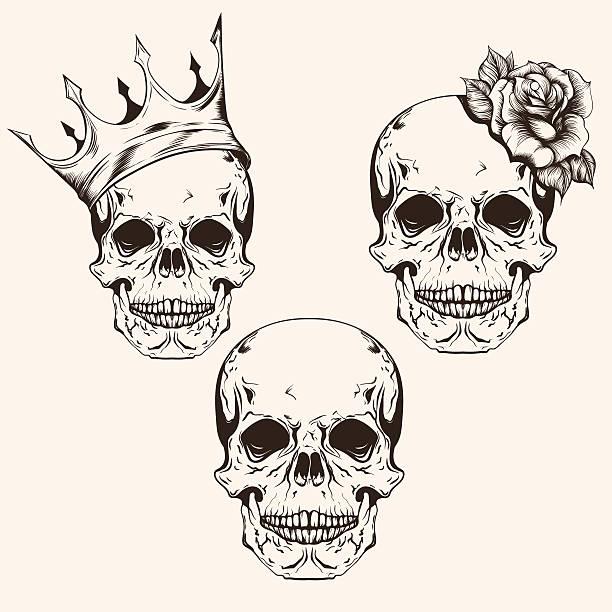 hand drawn set sketch sculls tattoo design line art. - moon tattoos stock illustrations, clip art, cartoons, & icons