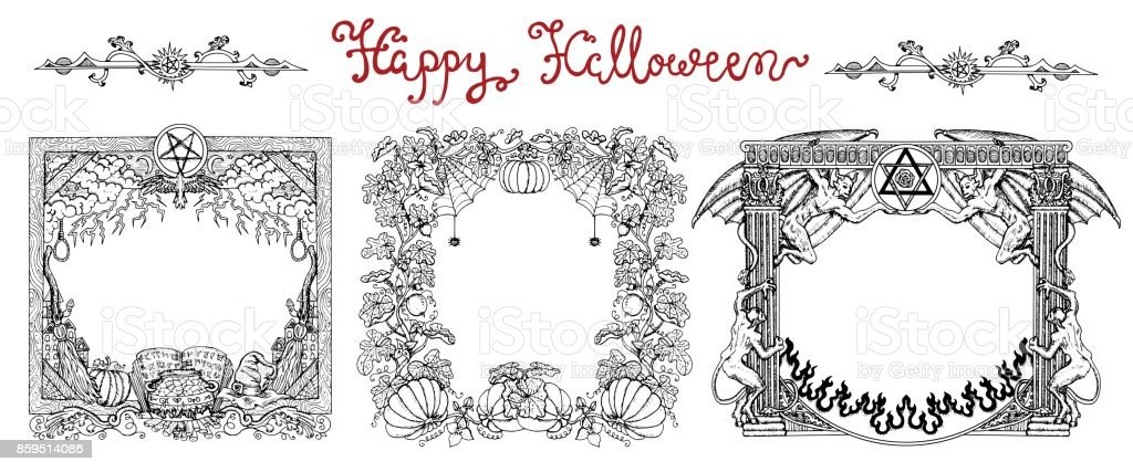 Hand drawn set with halloween frames and lettering on white