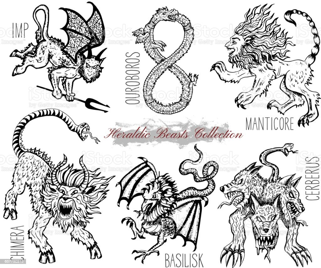 Hand drawn set with heraldic beasts and mythical monsters vector art illustration