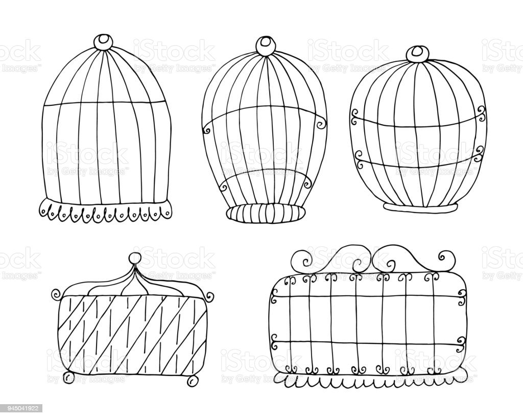 hand drawn set with vintage bird cage vector print stock vector art