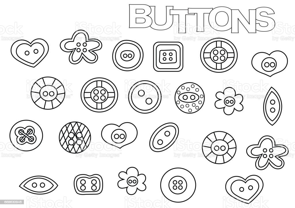 Hand Drawn Sewing Buttons Set Coloring Book Page Stock Vector Art