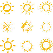 Hand drawn shining sun collection. Summer heat vector doodle sun symbols. Illustration of sun sketch, sunny and sunshine scribble drawing