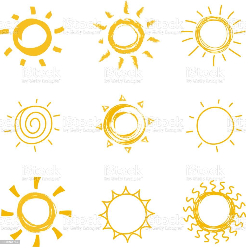 Hand drawn shining sun collection. Summer heat vector doodle sun symbols vector art illustration