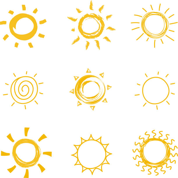 Hand drawn shining sun collection. Summer heat vector doodle sun symbols Hand drawn shining sun collection. Summer heat vector doodle sun symbols. Illustration of sun sketch, sunny and sunshine scribble drawing sun stock illustrations