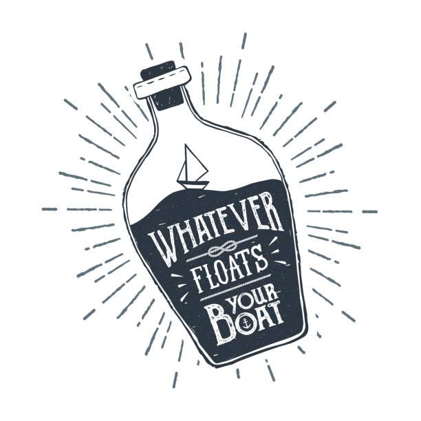 ilustraciones, imágenes clip art, dibujos animados e iconos de stock de mano dibuja la nave en una ilustración de vector de botella. - tatuajes náuticos