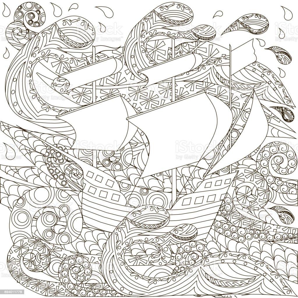 Hand Drawn Ship On Waves Antistres Coloring Boock Royalty Free
