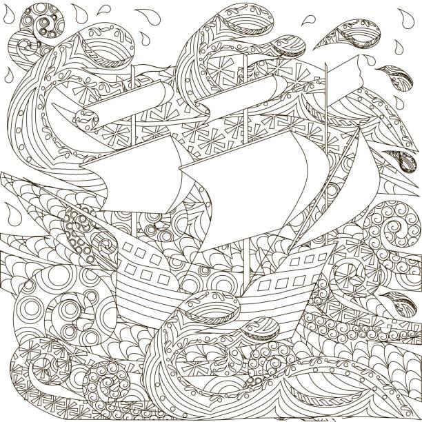 Hand drawn ship on waves antistres coloring boock vector art illustration
