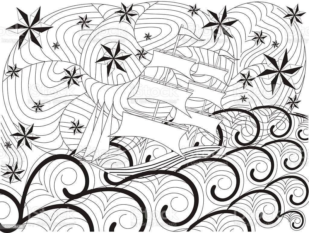 Hand Drawn Ship On Waves Stars Royalty Free