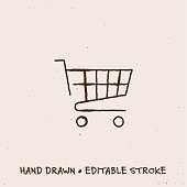 istock Hand Drawn Shopping Cart Icon with Editable Stroke 1267511761
