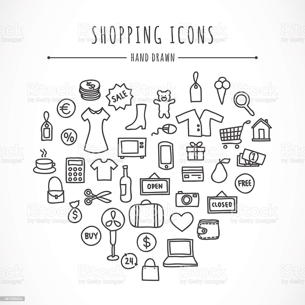 Hand drawn shopping icons clothes computer electronics bags money hand drawn shopping icons clothes computer electronics bags money toys biocorpaavc