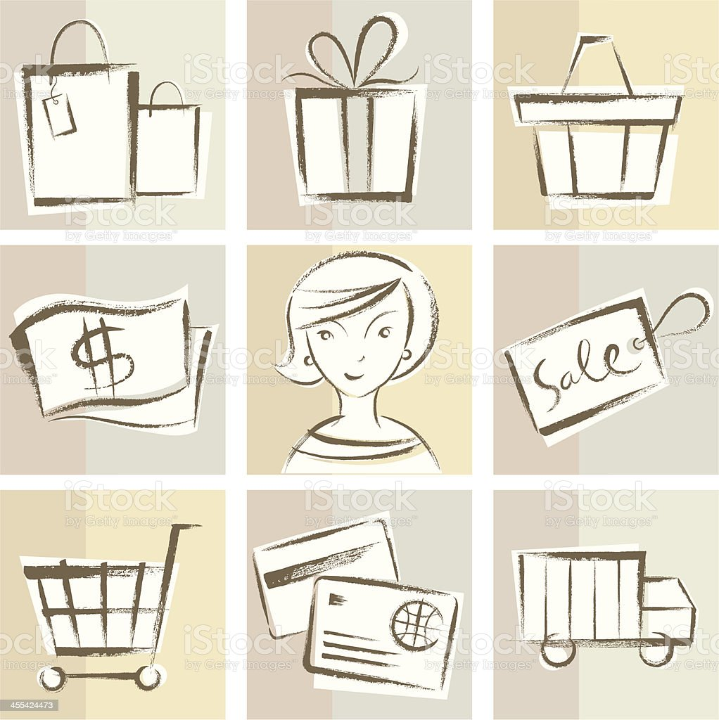 Hand drawn Shopping Icons royalty-free hand drawn shopping icons stock vector art & more images of adult
