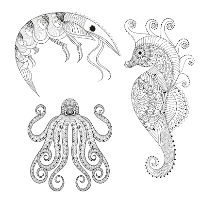 Hand drawn Shrimp, Sea Horse, Octopus for adult anti s