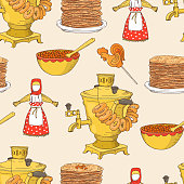 Hand drawn Shrovetide or Maslenitsa seamless pattern with samovar, pancakes, caviar on light background. Greate Russian traditional holiday.