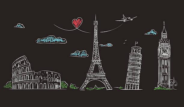 ilustraciones, imágenes clip art, dibujos animados e iconos de stock de dibujados a mano lugares de interés de europa en pizarra. - viaje a europa