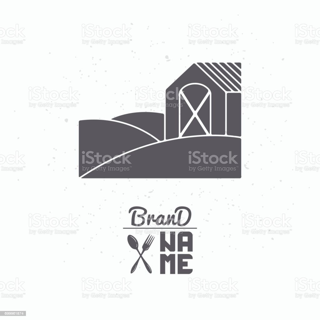 Hand drawn silhouette of farm field with house vector art illustration