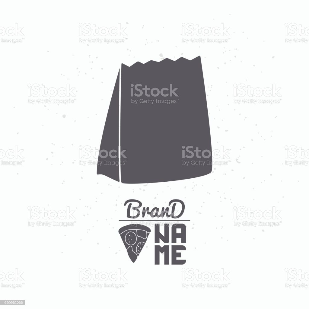 Hand drawn silhouette of takeaway paper bag vector art illustration
