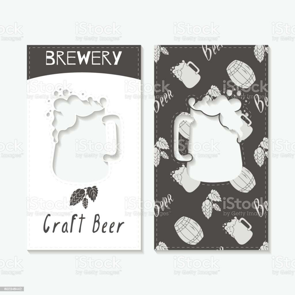 Hand Drawn Silhouettes Brewery Business Cards stock vector art ...
