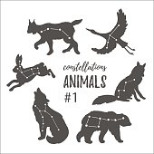Hand drawn silhouettes of animals in hipster style.