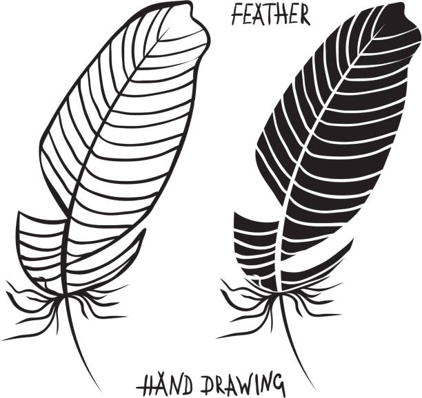 Royalty Free Silhouette Of A Native American Feather Tattoo Designs