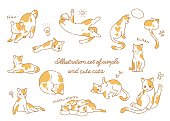 Hand drawn simple and cute cat illustration set
