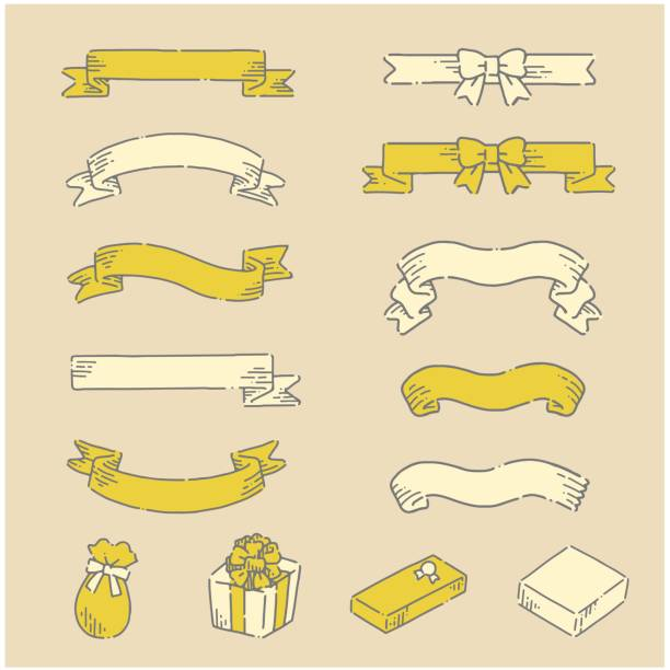 Hand drawn simple and cute ribbon icon set Hand drawn simple and cute ribbon icon set ribbon sewing item stock illustrations