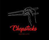 Hand drawn simple illustration, woman hand holding chopsticks. Eating with food sticks concept, Asian cutlery, doodling sketch.
