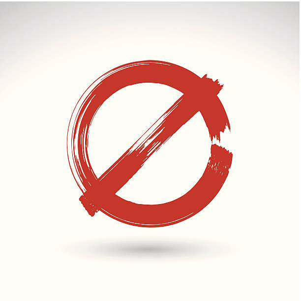 Hand drawn simple vector prohibition icon, brush drawing symbol Hand drawn simple vector prohibition icon, brush drawing red realistic stop symbol, hand-painted not allowed sign isolated on white background. exclusion stock illustrations