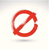 Hand drawn simple vector prohibition icon, brush drawing symbol